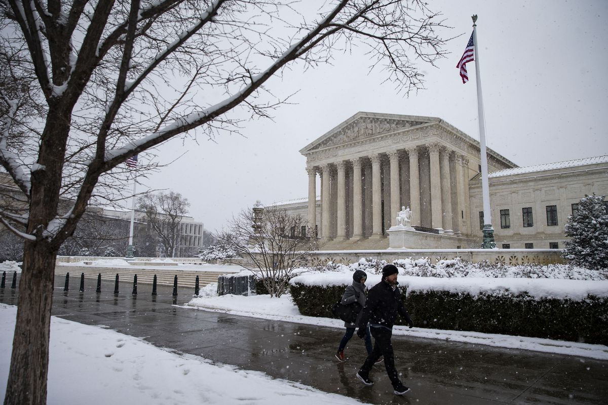 The US Supreme Court on a snowy day.