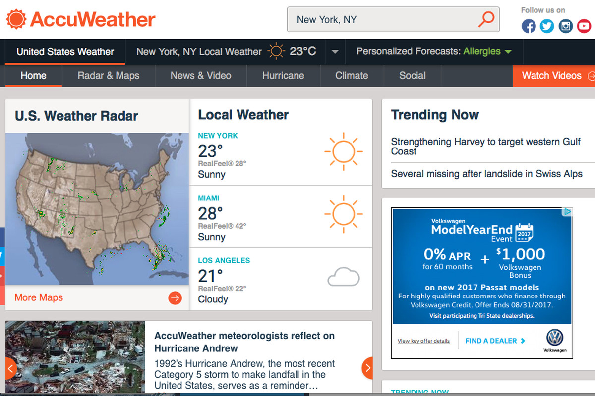 AccuWeather deflects blame after selling users' data, even if they on intellicast weather, yahoo weather,