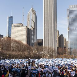 Presidential candidate Bernie Sanders speaks to thousands gathered at his rally in Grant Park, Saturday, March 7, 2020.