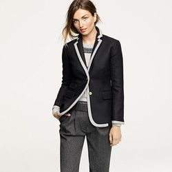 """Hacking jacket in tipped double -serge wool, <a href=""""http://www.jcrew.com/AST/Navigation/Sale/AllProducts/PRDOVR~50051/99102466405/ENE~1+2+3+22+4294967294+20~~~20+17+4294967088~90~~~~~~~/50051.jsp"""">$104</a> with code."""