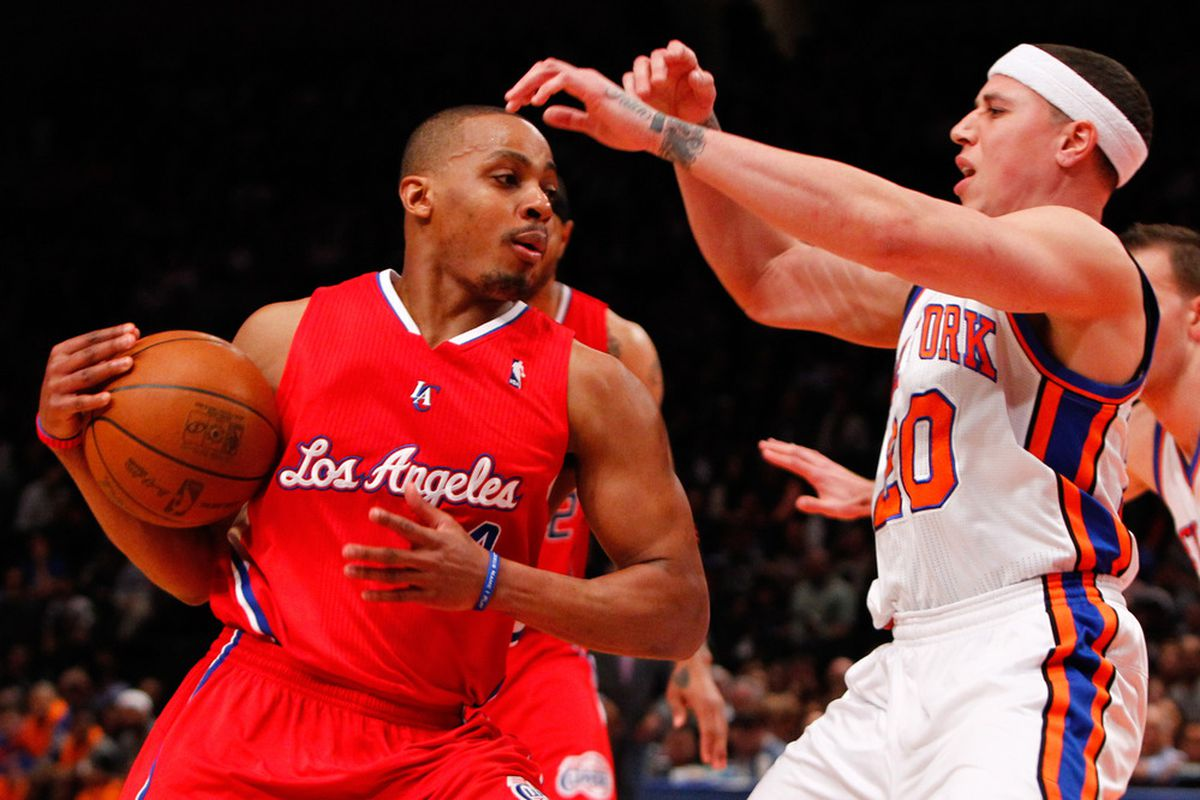 Apr. 25, 2012; New York, NY, USA; Los Angeles Clippers guard Randy Foye (4) drives past New York Knicks point guard Mike Bibby (20) during the first half at Madison Square Garden. Mandatory Credit: Debby Wong-US PRESSWIRE