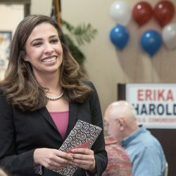Erika Harold, then-Republican primary candidate for the 13th Congressional District of Illinois, talks to supporters in Champaign, in 2014. File Photo. (John Dixon/The News-Gazette via AP)