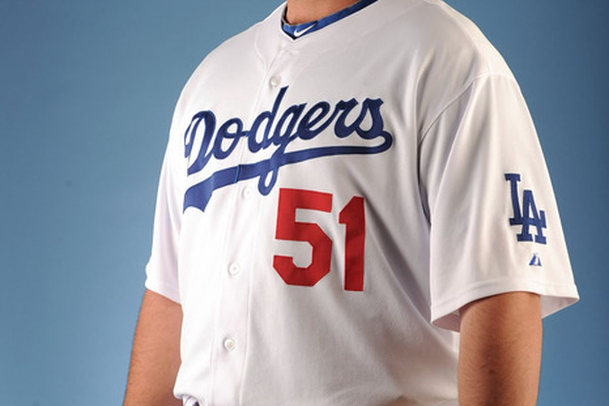 GLENDALE AZ - FEBRUARY 25:  Jonathan Broxton #51 of the Los Angeles Dodgers poses for a photo on photo day at Camelback Ranch on February 25 2011 in Glendale Arizona.  (Photo by Harry How/Getty Images)