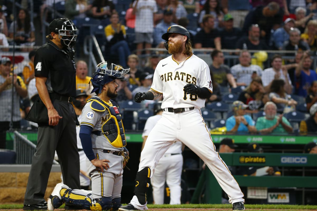 Ben Gamel #18 of the Pittsburgh Pirates scores on his home run in the fifth inning against the Milwaukee Brewers at PNC Park on July 1, 2021 in Pittsburgh, Pennsylvania.
