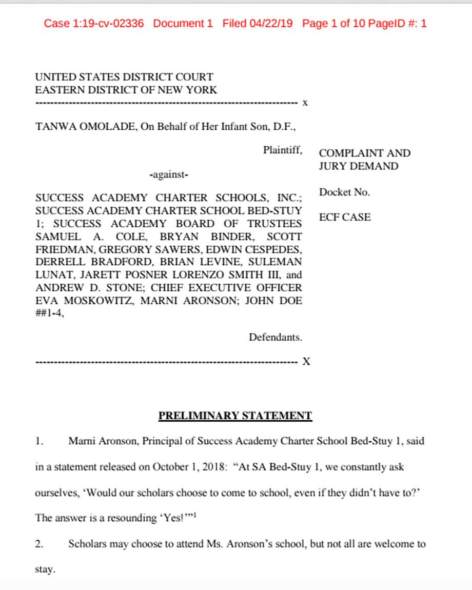 First page of the federal lawsuit filed against Success Academy