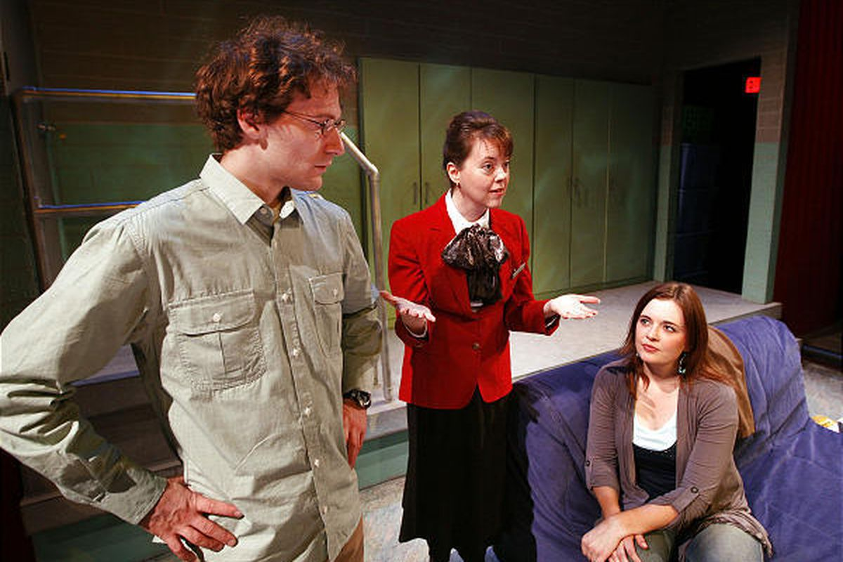 """David Fetzer, left, Holly Flowers and Emily Burnworth will appear in Salt Lake Acting Company's upcoming production of Peter Sinn Nachtrieb's popular play """"Boom."""""""