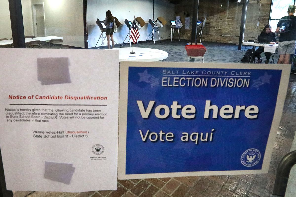 Voters cast their ballots during an election at the Salt Lake County vote center in Trolley Square in Salt Lake City on Tuesday, June 26, 2018.