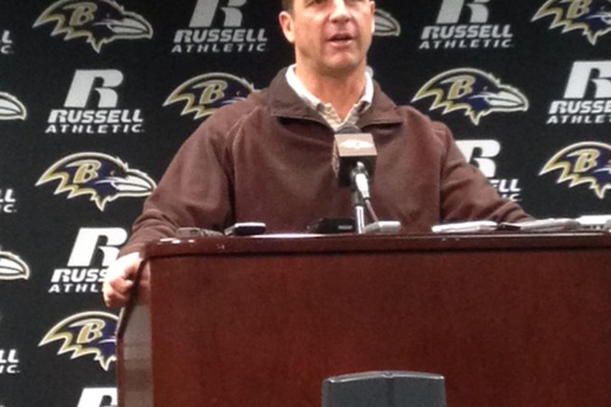 Baltimore Ravens head coach John Harbaugh (January 2, 2012)