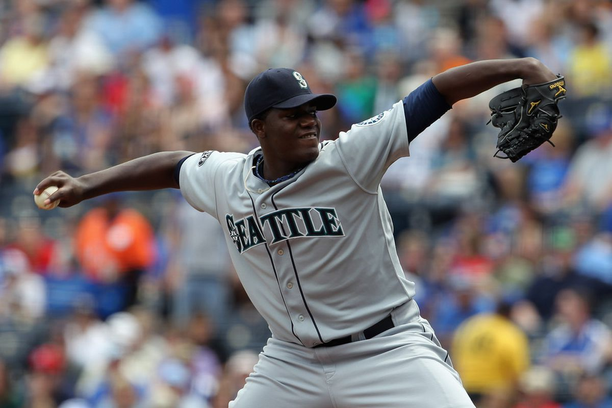 KANSAS CITY, MO - APRIL 17:  Starting Michael Pineda #36 of the Seattle Mariners  pitches during the game against the Kansas City Royals on April 17, 2011 at Kauffman Stadium in Kansas City, Missouri.  (Photo by Jamie Squire/Getty Images)
