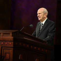 President Russell M. Nelson speaks during the Sunday afternoon session of the 190th Semiannual General Conference of The Church of Jesus Christ of Latter-day Saints on Oct. 4, 2020.