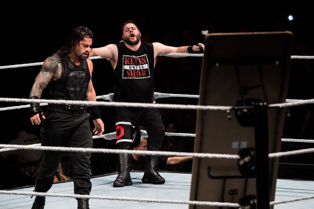 Kevin Owens is attacked by Roman Reigns during to the WWE Live Duesseldorf event at ISS Dome on February 22, 2017 in Duesseldorf, Germany.