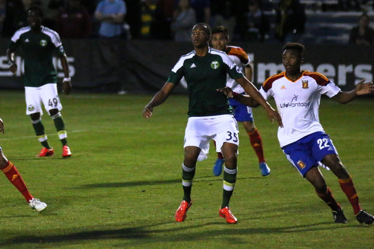 Manning (#35) leaps for a header in the second half against Real Monarchs.