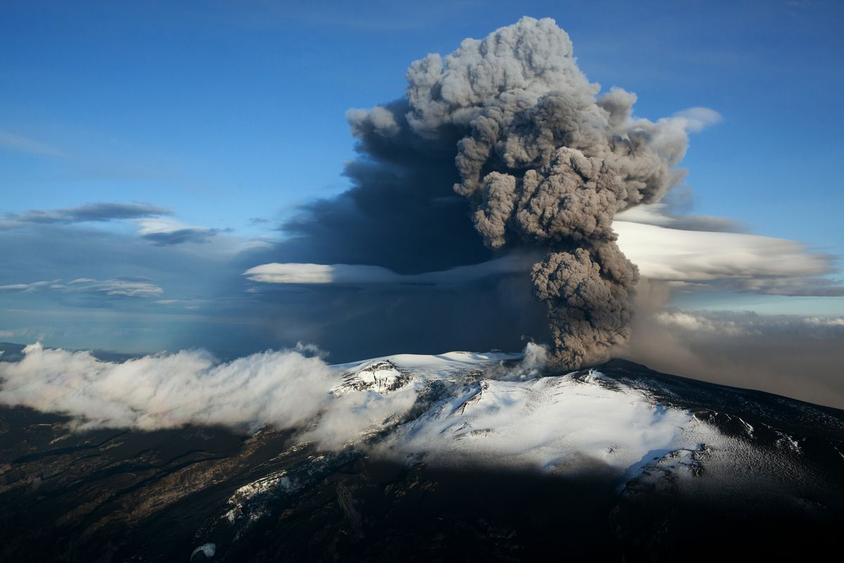 The 2010 eruption of from Iceland's Eyjafjallajokull crater disrupted air travel across Europe.