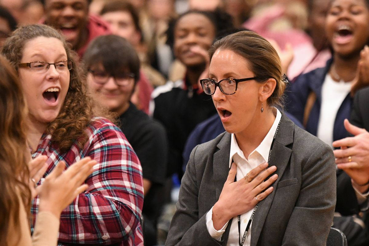 Millington English teacher Katherine Watkins reacts after learning that she is the recipient of a 2017 Milken Educator Award.