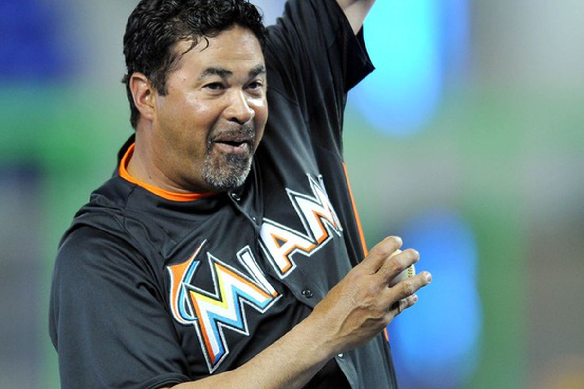 Miami FL, USA; Miami Marlins manager Ozzie Guillen before a spring training game against the New York Yankees at Marlins Park. Mandatory Credit: Steve Mitchell-US PRESSWIRE