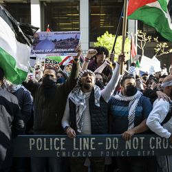 Thousands rally in support of Palestine outside the Consulate General of Israel to the Midwest, at 500 W. Madison St., after marching through the Loop, Wednesday evening, May 12, 2021.