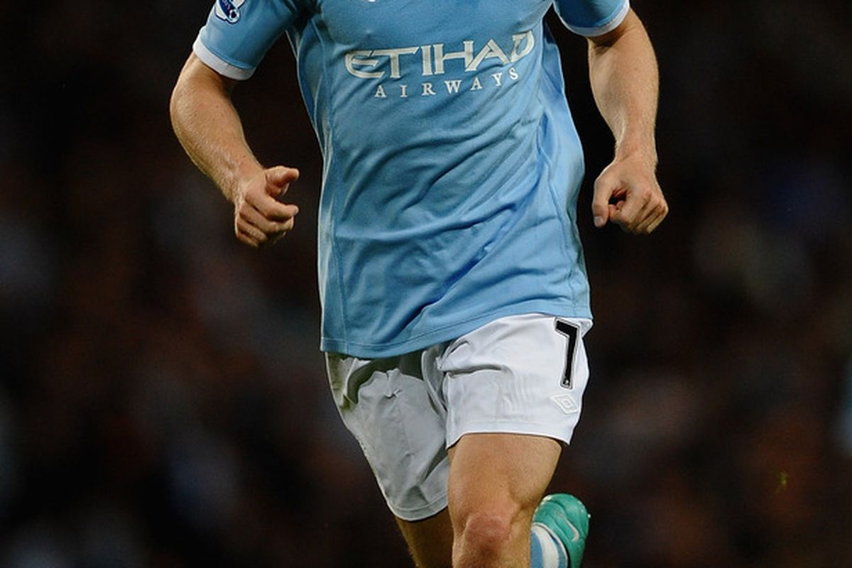 MANCHESTER ENGLAND - AUGUST 23: James Milner during the Barclays Premier League match between Manchester City and Liverpool at City of Manchester Stadium on August 23 2010 in Manchester England. (Photo by Phil Cole/Getty Images)