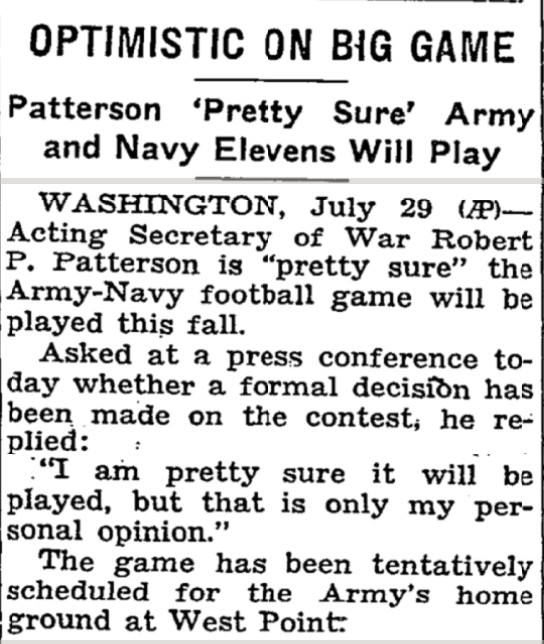 A newspaper clip detailing the future of the Army-Navy game in 1943