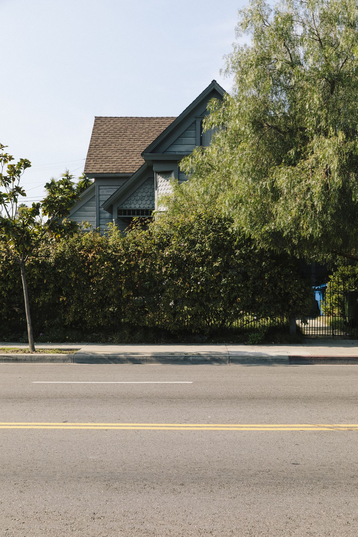 A blue home with wood siding is tucked behind a hedge.
