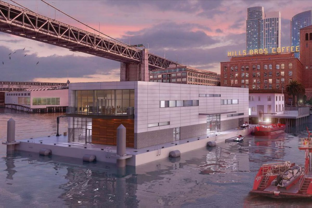 A rendering of a fire station on a floating barge tethered to Pier 22, with the Hills Bros Coffee building and Bay Bridge in the background.