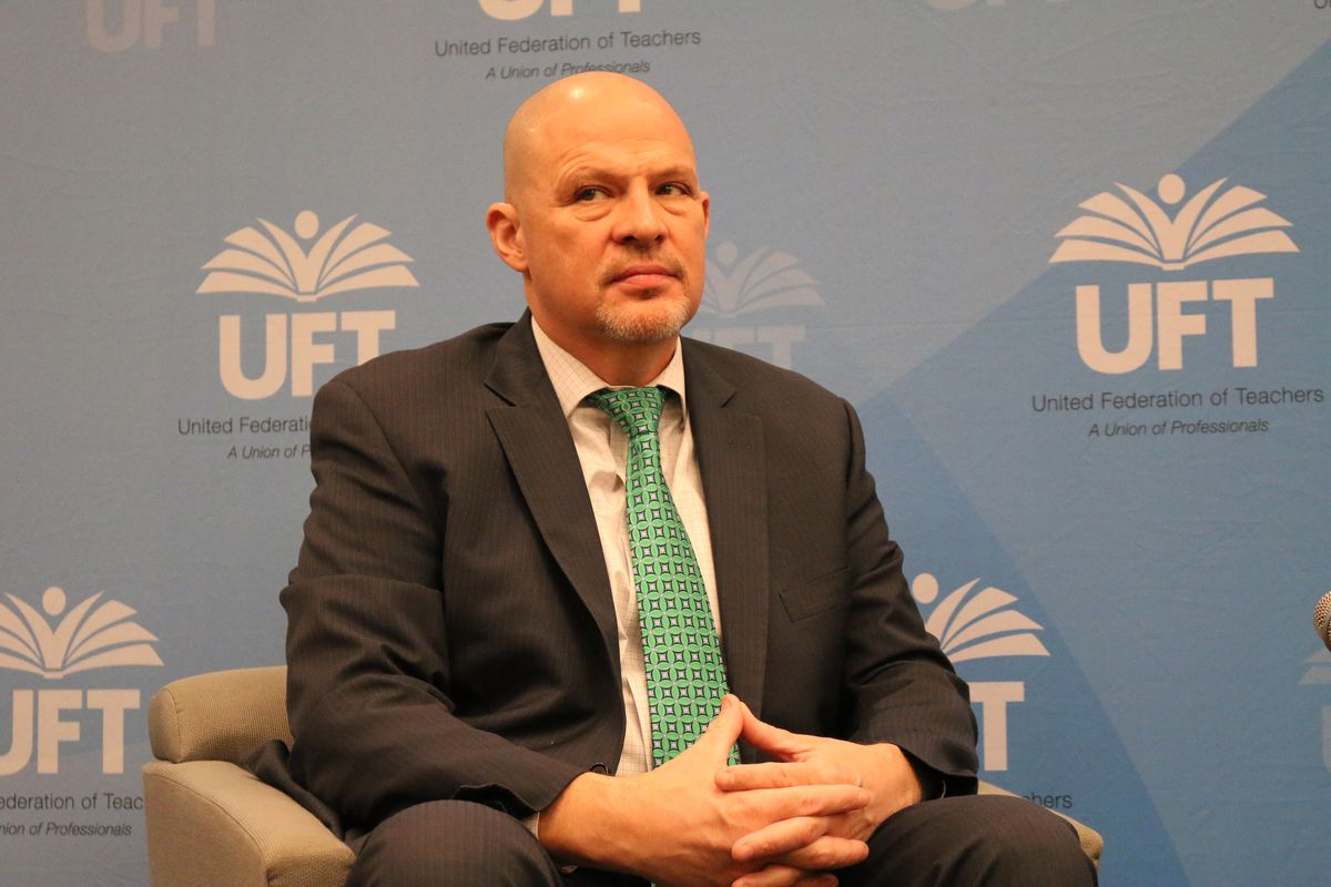 UFT President Michael Mulgrew this winter hosted a discussion on the potential impacts of Janus.