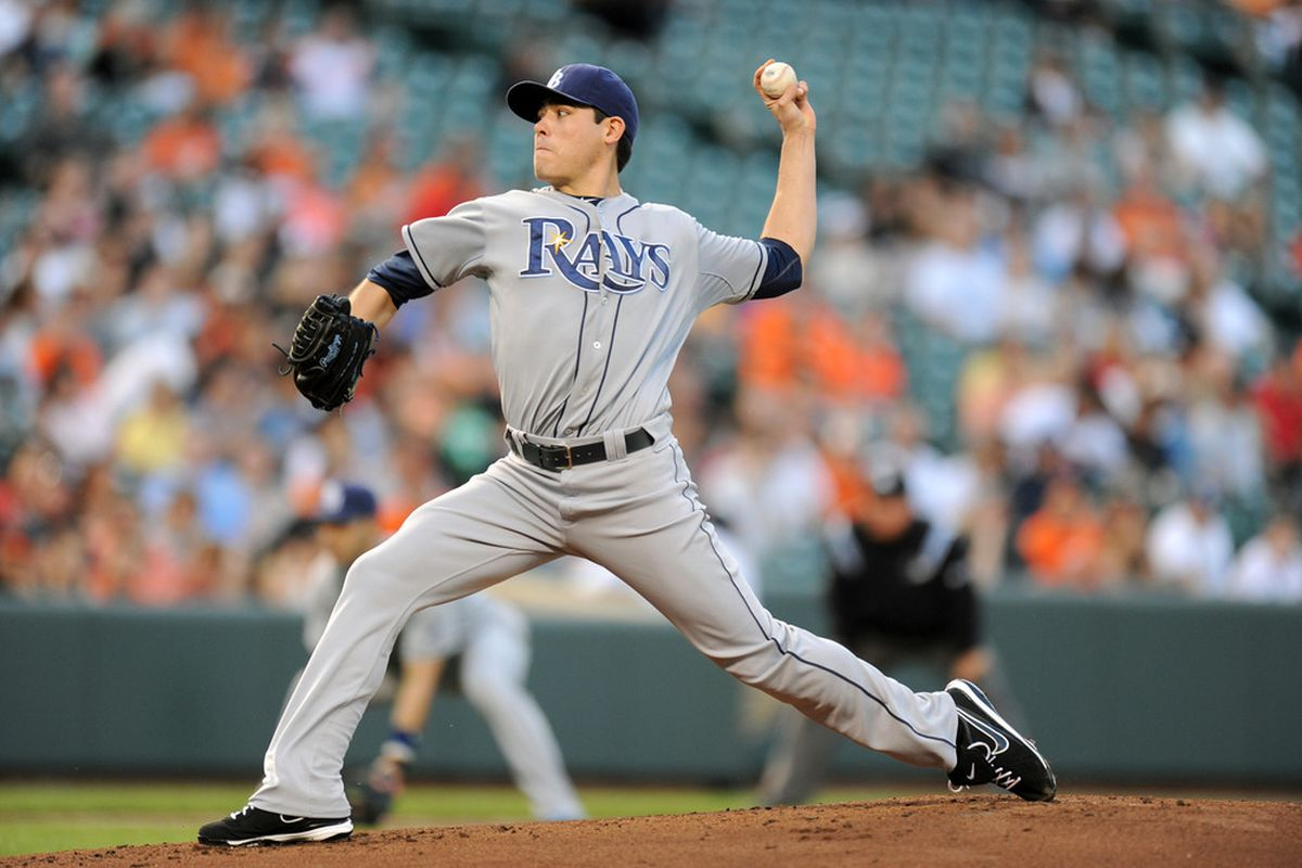 BALTIMORE, MD - MAY 12:  Matt Moore #55 of the Tampa Bay Rays Pitches during of a baseball game against the Baltimore Orioles at Oriole Park at Camden Yards on May 12, 2012 in Baltimore, Maryland.  (Photo by Mitchell Layton/Getty Images)