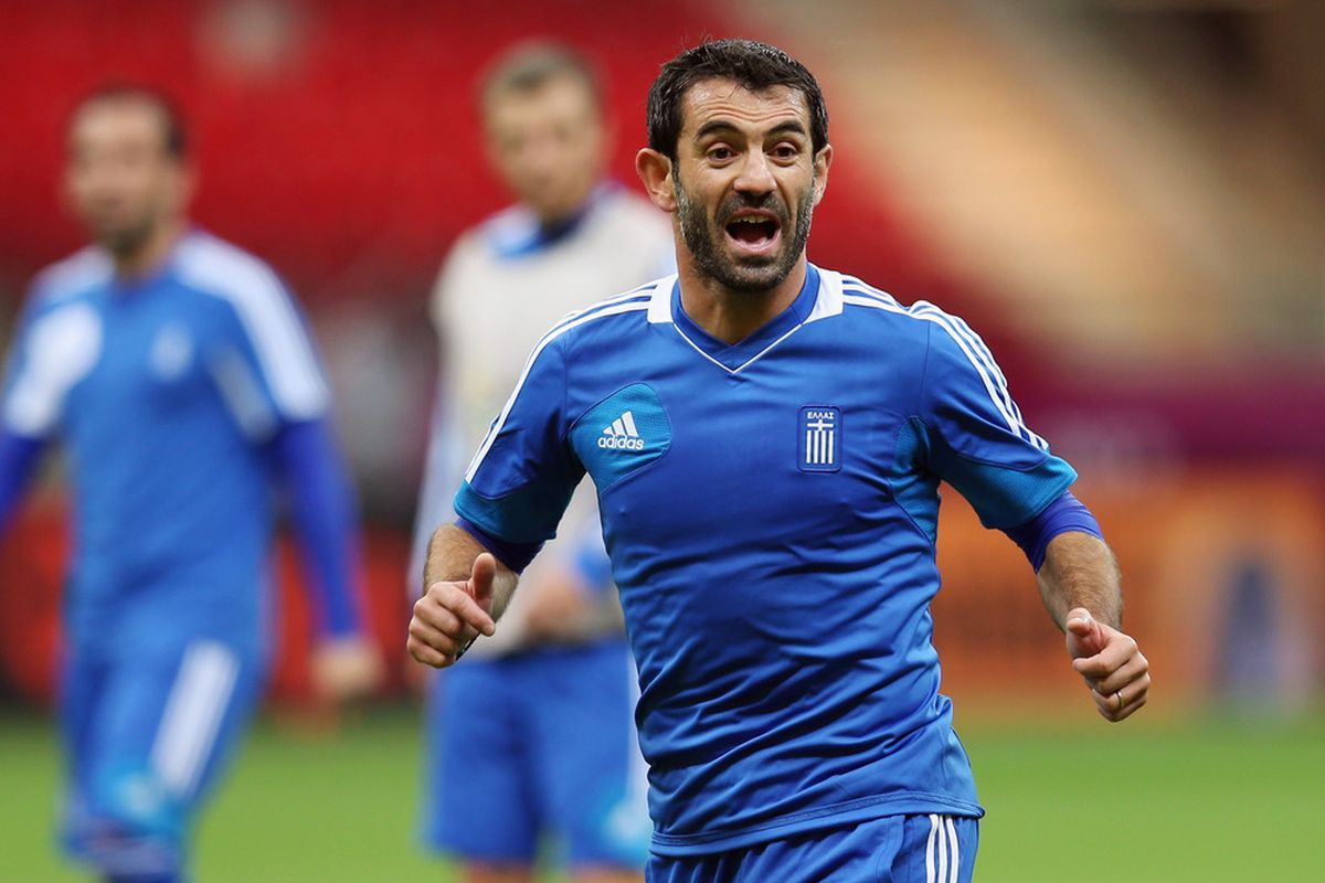WARSAW, POLAND - JUNE 07:  Giorgos Karagounis shouts during a Greece training session ahead of the UEFA EURO 2012 Group A match against Poland at National Stadium on June 7, 2012 in Warsaw, Poland.  (Photo by Alex Grimm/Getty Images)