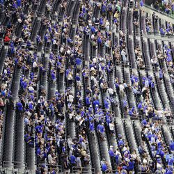 BYU fans attend the game at the Allegiant Stadium during the Vegas Kickoff Classic in Las Vegas on Saturday, Sept. 4, 2021.