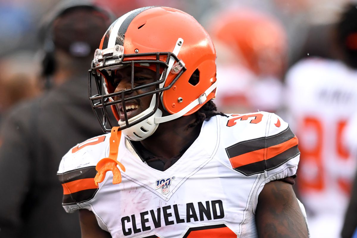 Running back D'Ernest Johnson of the Cleveland Browns on the sideline in the third quarter of a game against the Cincinnati Bengals on December 29, 2019 at Paul Brown Stadium in Cincinnati, Ohio. Cincinnati won 33-23.