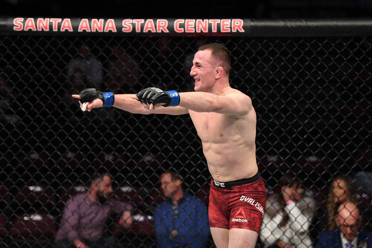 Merab Dvalishvili of Georgia reacts after the conclusion of his bantamweight bout against Casey Kenney during the UFC Fight Night event at Santa Ana Star Center on February 15, 2020 in Rio Rancho, New Mexico.