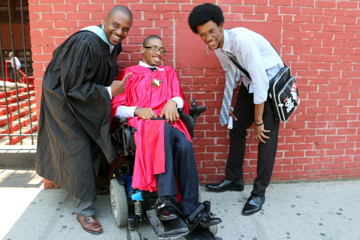 Three Boys and Girls graduates from different years: Math teacher Jamaal Harvey, class of 2016 graduate Tyjuan Felton, and paraprofessional Keith Robinson.