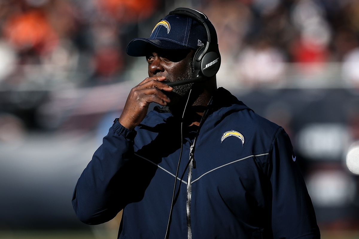 Head coach Anthony Lynn of the Los Angeles Chargers looks on in the third quarter against the Chicago Bears at Soldier Field on October 27, 2019 in Chicago, Illinois.