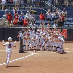 Jessie Harper approaches home plate
