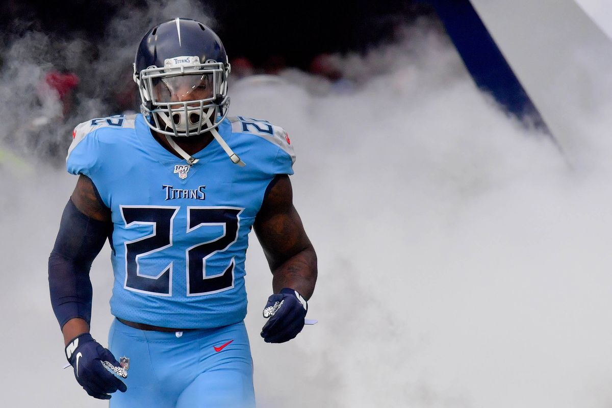 Tennessee Titans running back Derrick Henry takes the field prior to the game against the Houston Texans at Nissan Stadium.