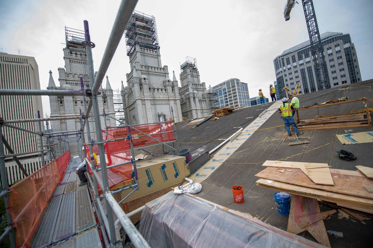 Crew installed two new trusses on the roof in September 2021 as part of the Temple Square renovation in Salt Lake City, Utah.