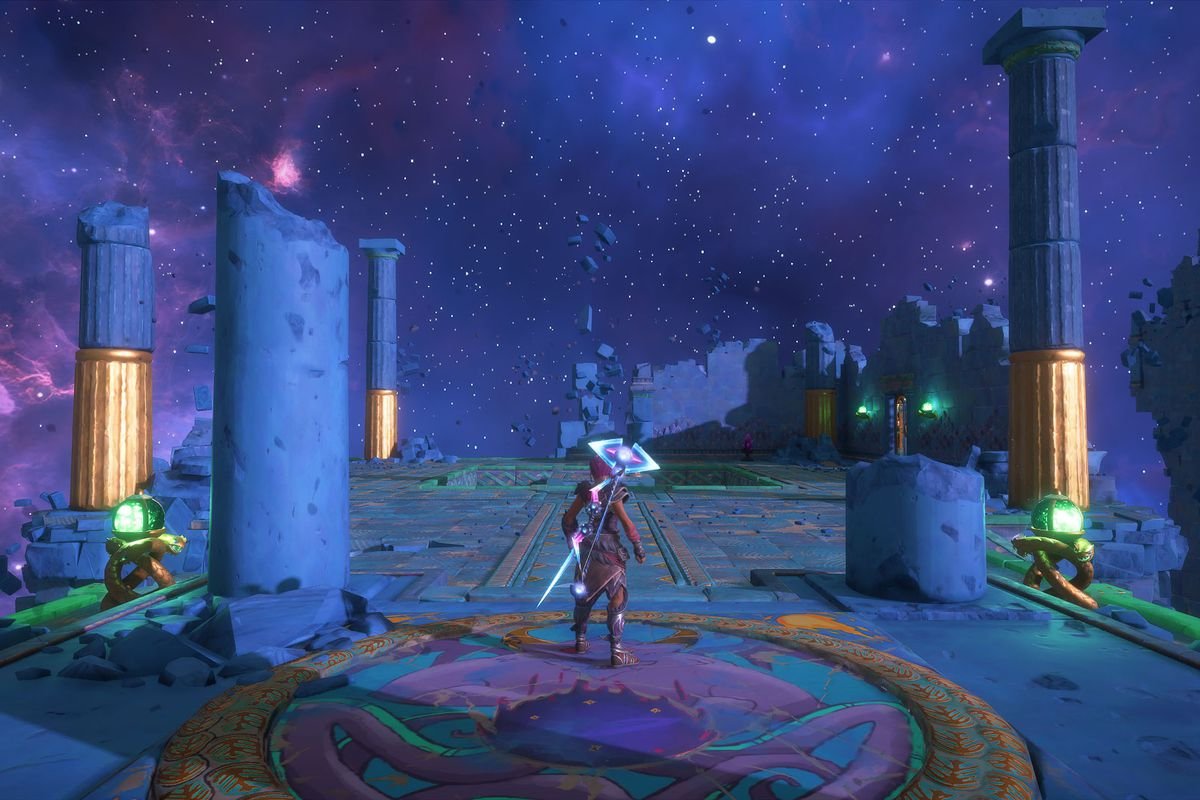 The entrance to The Aiolian Path Vault of Tartaros in Immortals Fenyx Rising