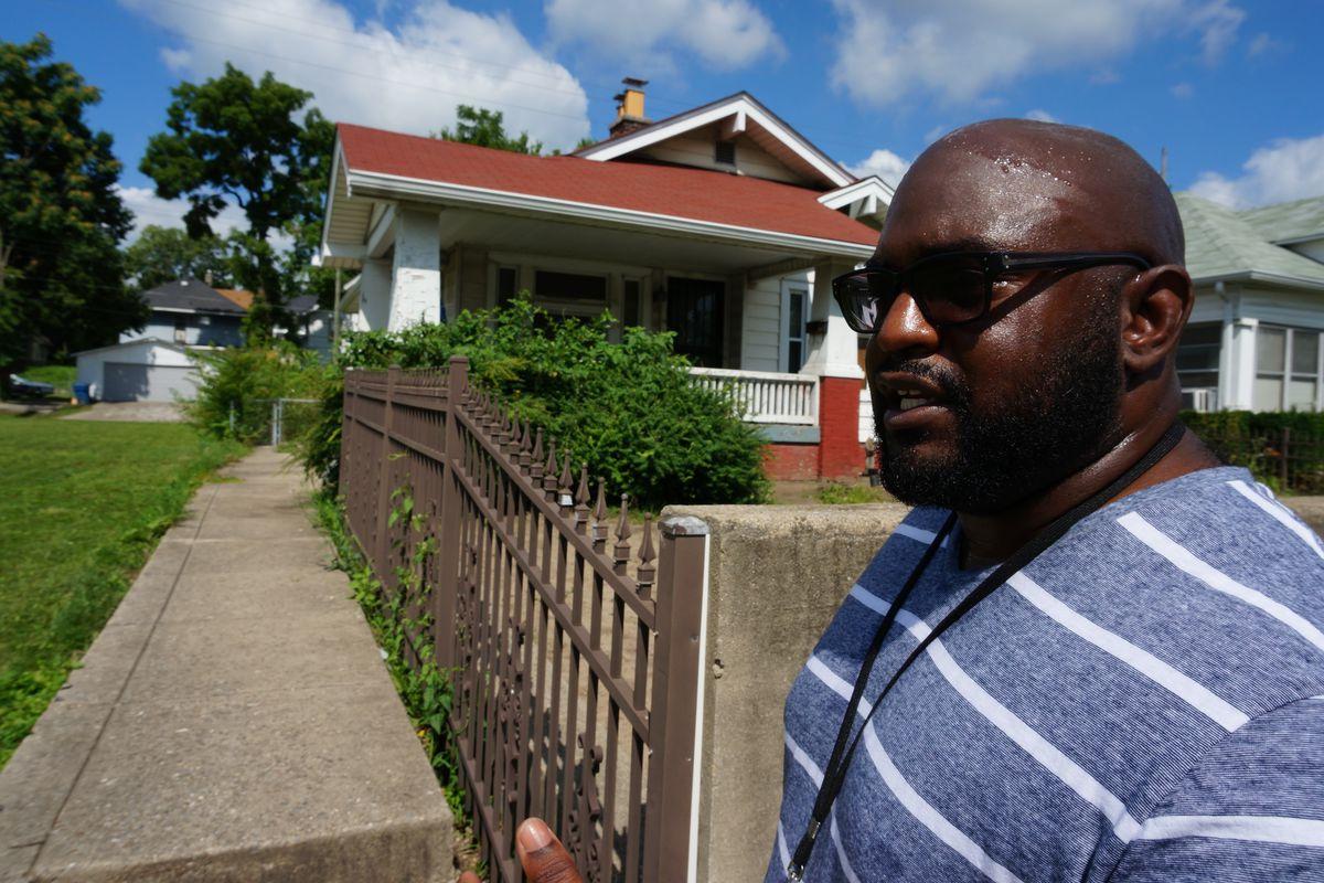 Principal Bakari Posey walked the streets around School 43.