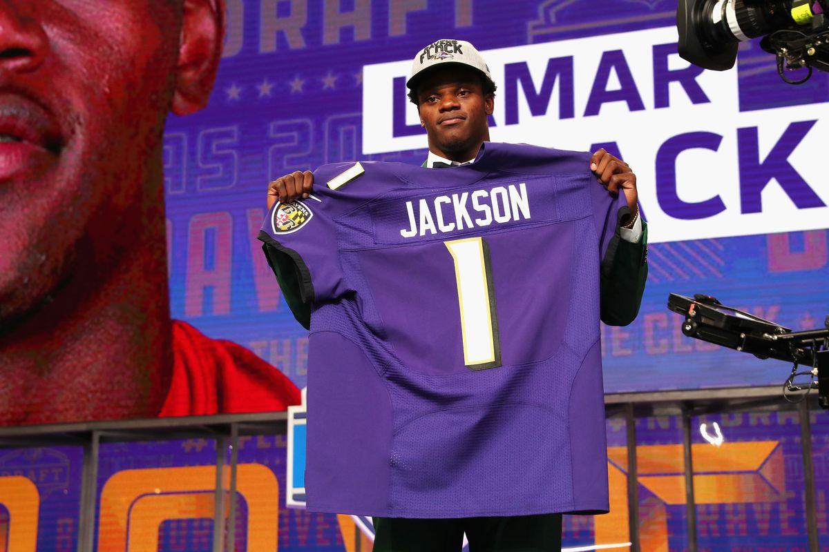 size 40 ddd6f b5e95 Lamar Jackson jersey Hayden Hurst jersey Baltimore Ravens ...