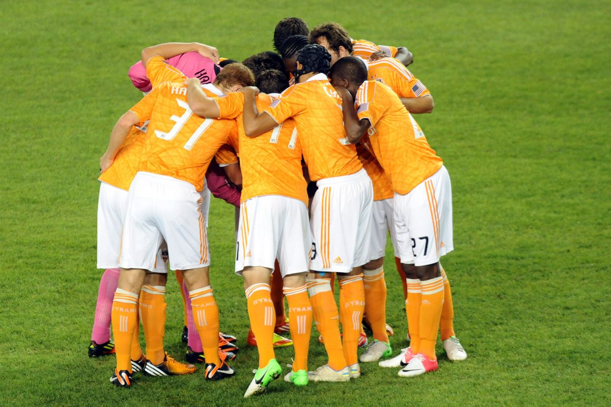 Aug 10, 2012; Harrison, NJ, USA;  Houston Dynamo players huddle against the New York Red Bulls during the first half at  Red Bull Arena. Mandatory Credit: Joe Camporeale-US PRESSWIRE
