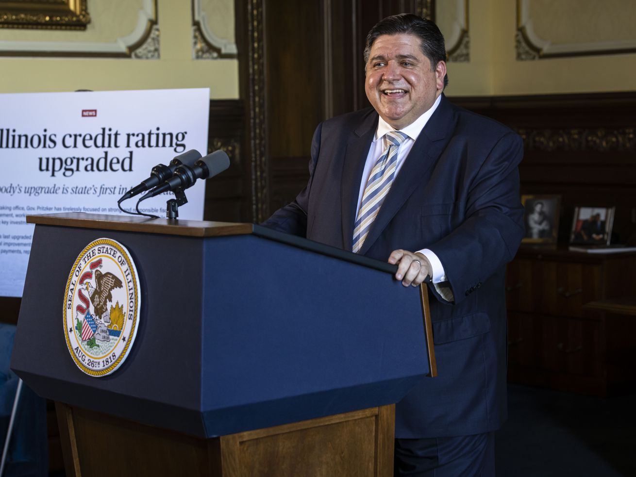Gov. JB Pritzker discusses Moody's upgrade of the state's bond rating, the first rating upgrade from a credit rating agency in more than 20 years,