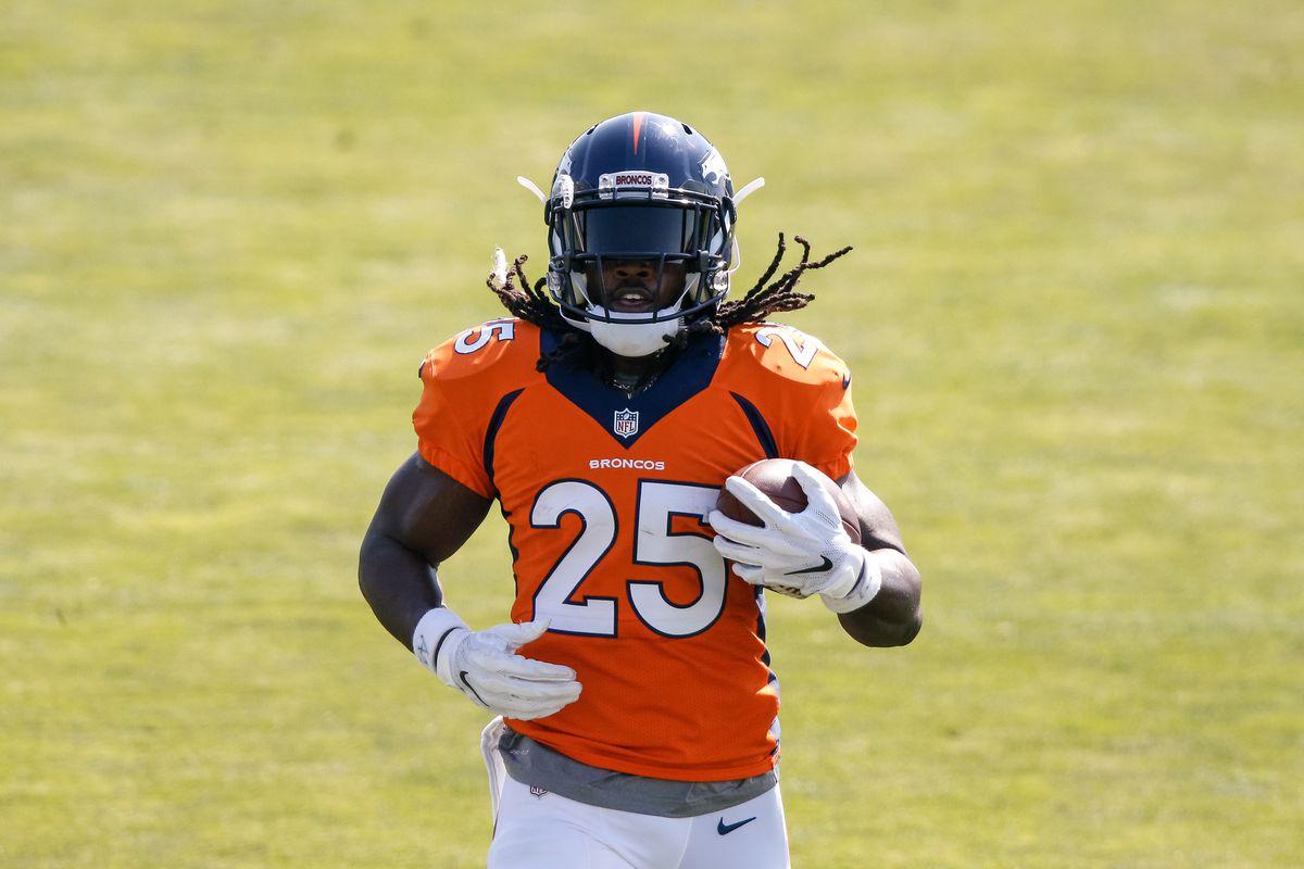 Denver Broncos running back Melvin Gordon III (25) during training camp at Dove Valley.