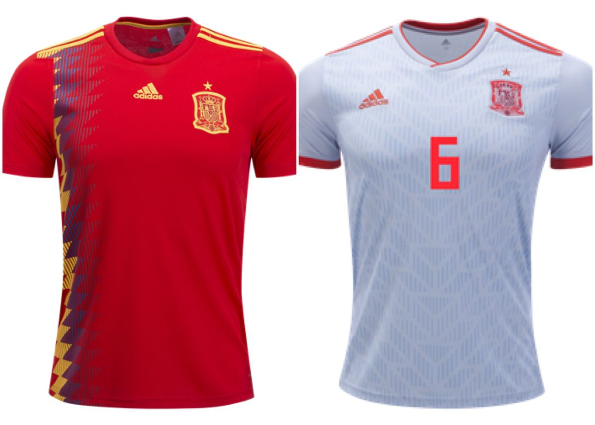 03792b70d Spain went back to 1994 to bring out these beautiful home jerseys, with a  great design that screams España. The away jersey is white instead of navy  blue, ...