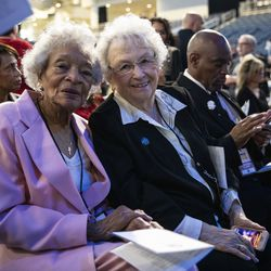 Lori Lightfoot's 90-year-old mother, Ann Lightfoot, poses for a photo with longtime family friend Margaret Guleff before the start of the city of Chicago's inauguration ceremony at Wintrust Arena, where Mayor-elect Lightfoot will take the oath of office, Monday morning, May 20, 2019.