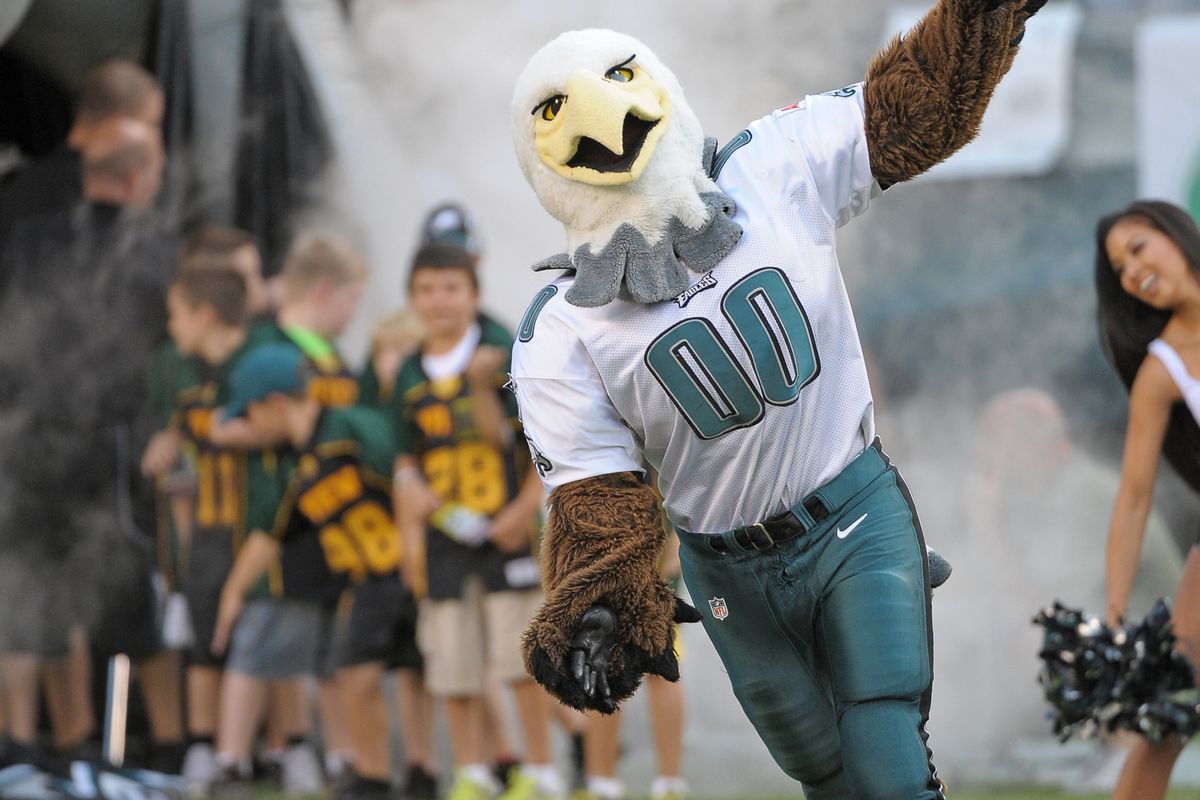 August 30, 2012; Philadelphia, PA USA; Philadelphia Eagles mascot Swoop runs onto the field during pre game introductions before game against the New York Jets at Lincoln Financial Field. Mandatory Credit: Eric Hartline-US PRESSWIRE