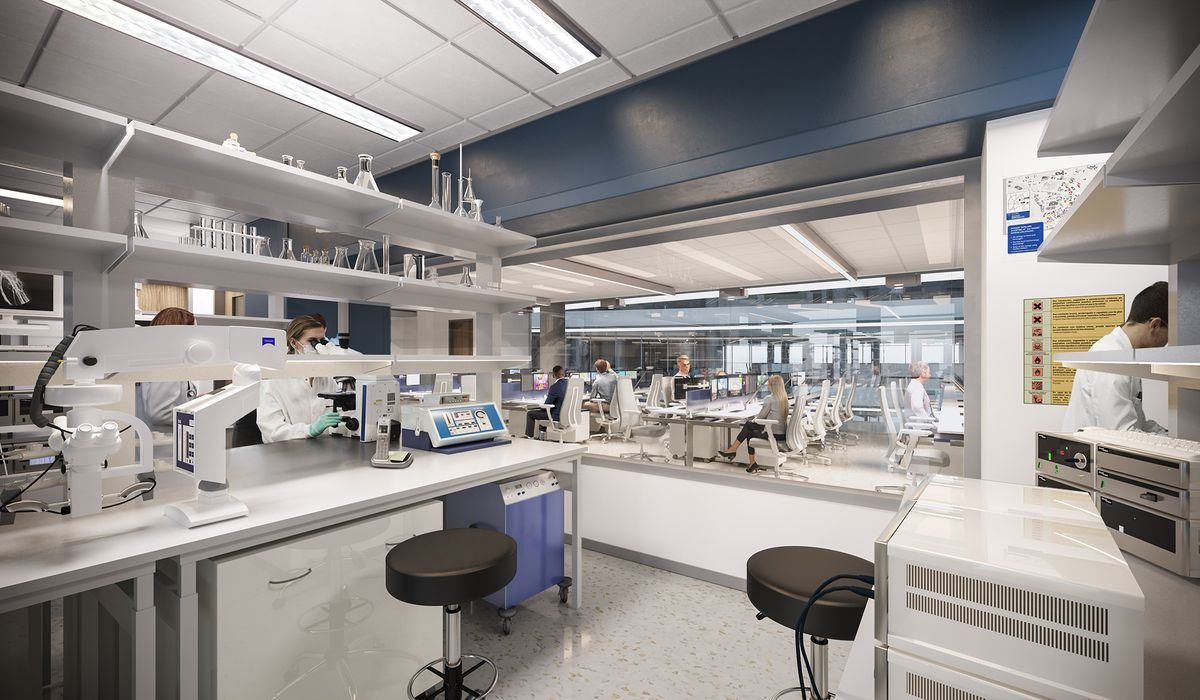 A rendering of medical facilities, with research equipment in a sterile-looking environment.