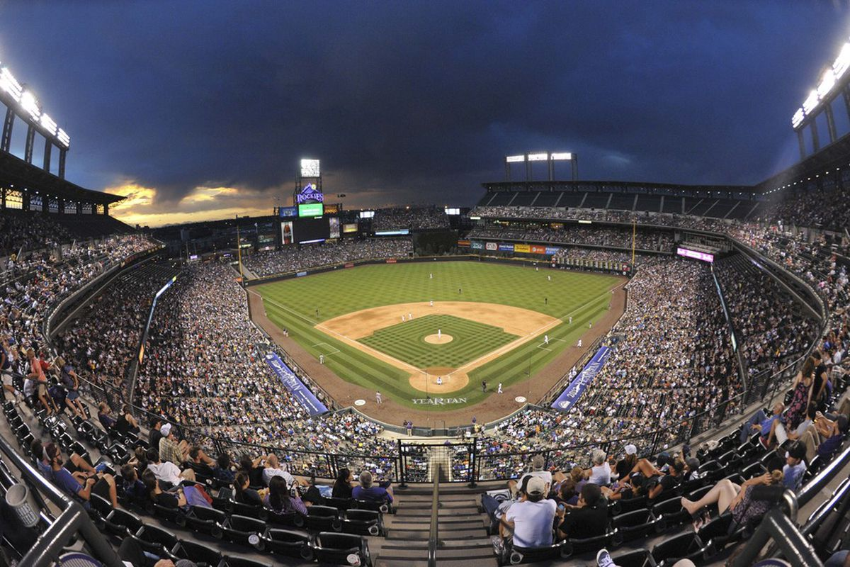 Jun 26, 2012; Denver, CO, USA;  General view of Coors Field during the sixth inning between the Washington Nationals and the Colorado Rockies. Mandatory Credit: Andrew B. Fielding-US PRESSWIRE