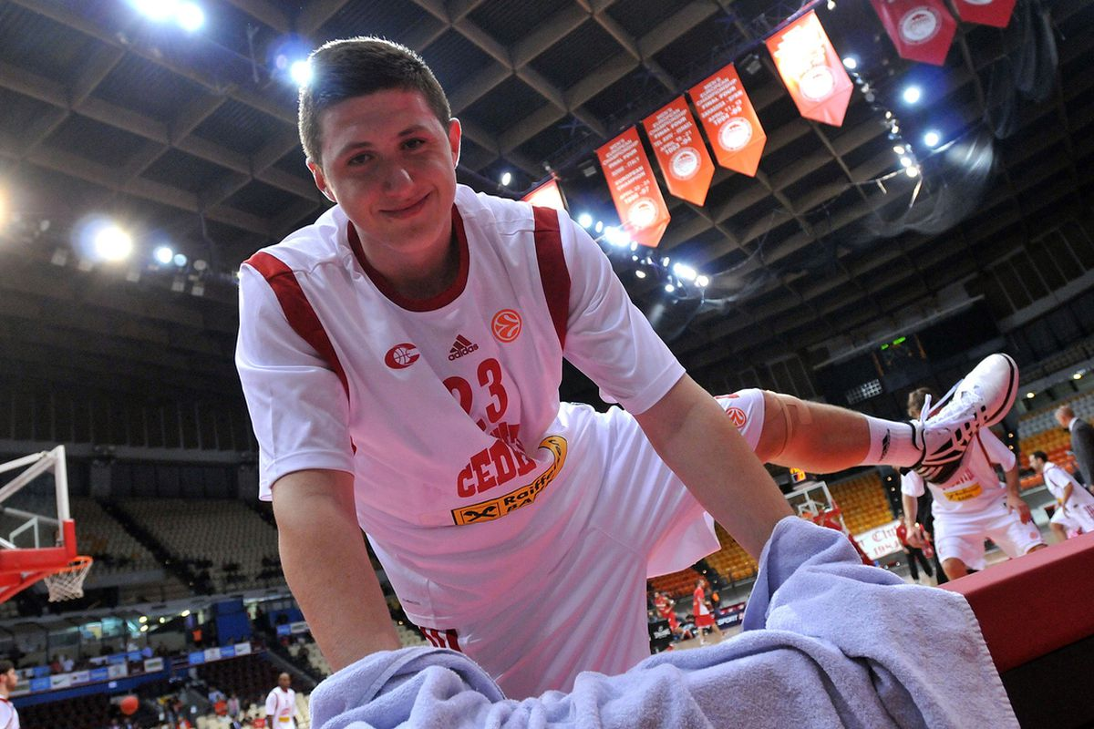 ATHENS, GREECE - NOVEMBER 02: Jusuf Nurkic, #23 of Cedevita Zagreb poses for a photograph whilst warming up during the 2012-2013 Turkish Airlines Euroleague Regular Season Game Day 4 between Olympiacos Piraeus v Cedevita Zagreb at Peace and Friendshi