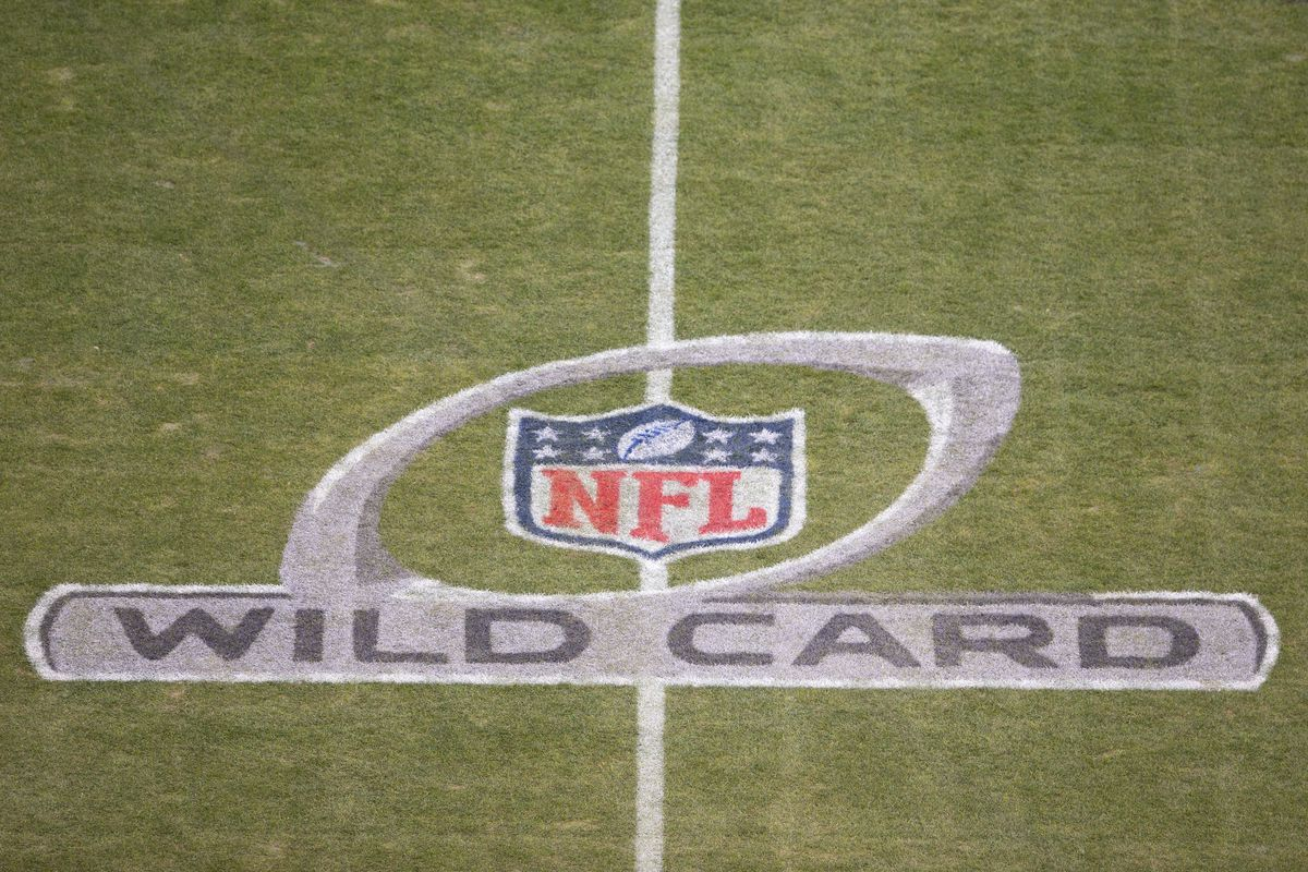 A general view of the NFL Wild Card logo prior to the game between the Seattle Seahawks and Philadelphia Eagles at Lincoln Financial Field on January 5, 2020 in Philadelphia, Pennsylvania.