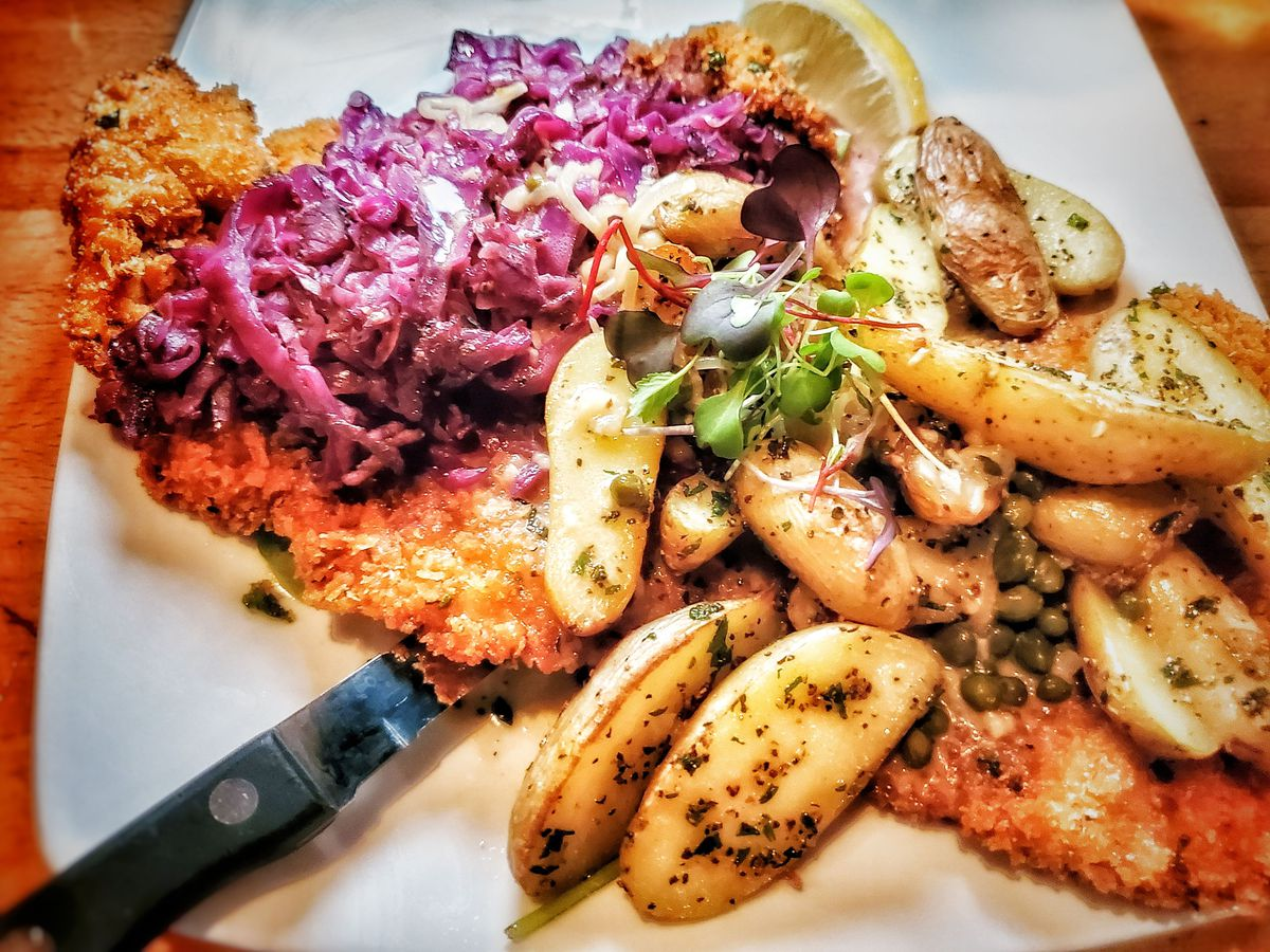 pork schnitzel with braised cabbage and fingerling potatoes