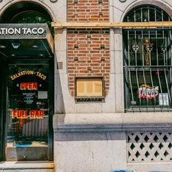 """<b>↑</b>Hit up April Bloomfield and Ken Friedman's <b><a href="""" http://salvationtaco.com/"""">Salvation Taco</a></b> (145 East 39th Street) for Mexicanin-inspired fare with a global twist. Bring your friends: you'll want to share dishes like chilaquiles with"""